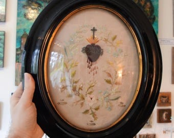 Rare Large Antique French Reliquary Embroidery Sacred Heart Doves Original Seals c.1860-1880