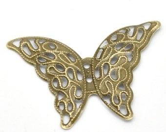 """5pcs Antique Bronze Butterfly Wraps Connectors 4.1x2.9cm(1-5/8""""x1-1/8"""")"""