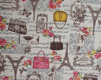 0.5 Meter Cotton and Linen Fabric Multicolor Eiffel Flower Pattern