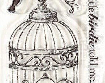 Hot Off the Press Small A bird in a cage Acrylic Stamp