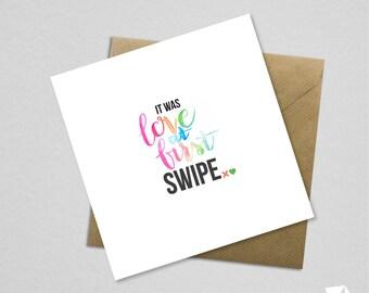 Tinder Anniversary Valentines Card Funny Humor Love