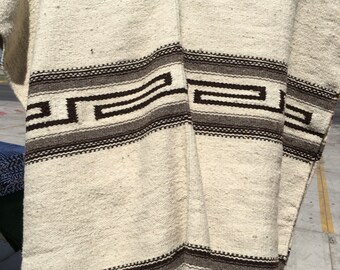 100% wool poncho Mexican gaban