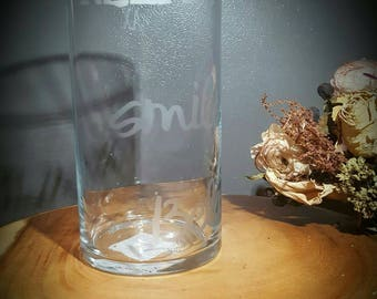 Set of two etched glasses vases with inspirational quotes.