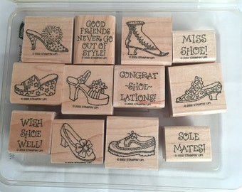 Stampin' Up Steppin' Style Rubber Stamp Set - Fun Shoe Stamps and Witty Sentiments - Set of 12 in plastic case
