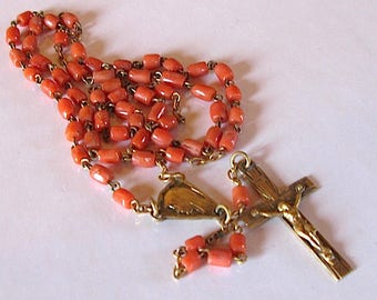 Antique french rosary coral Beads Catholic Religious art deco 1920