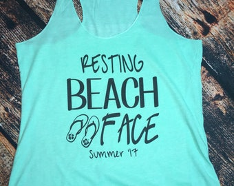 Resting Beach Face Tank or Swimsuit cover up