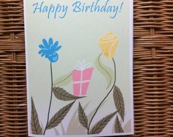 Flower Birthday Card, Birthday Card, Greeting Card, Positive Greeting Card