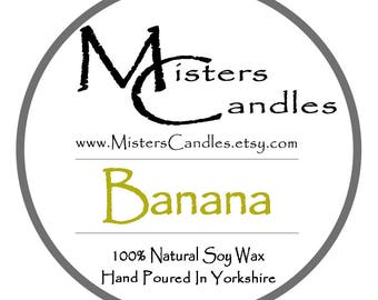 Banana 8oz 100% Natural Soy Wax Scented Candle - 30 hour burn time. Birthday Present, Gift for her
