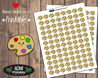 Paint Printable Planner Stickers, Paint Palette Planner Stickers, Artist Stickers, Painter, Art, use with Erin Condren™ Planners, Functional