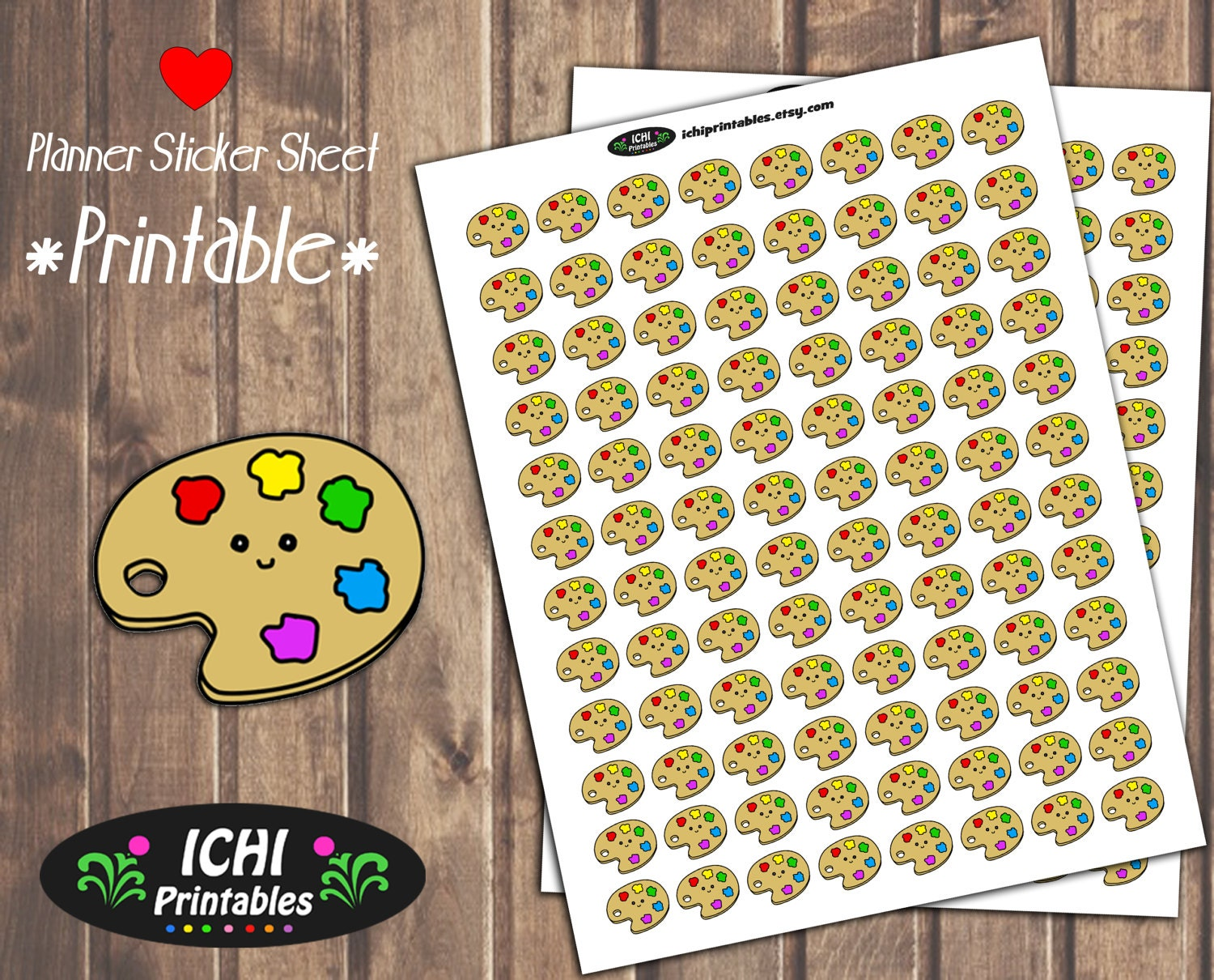 Paint planner stickers printable paint palette planner for Paint planner