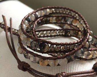 Best Selling Opal Grey Wrap Bracelet;Vegan Leather Wrap Bracelet, Beaded Wrap Bracelet, Leather Bracelet, Boho Wrap, Bohemian,trendy,stylish