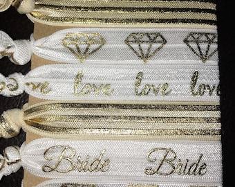 Bride Hair Ties, Bridal Gift, Bridal Hair Accessories, Bridal Hair Ties, Bridal Party Favor, Gold Bridal Hair Tie, Gold Bride Hair Accessory