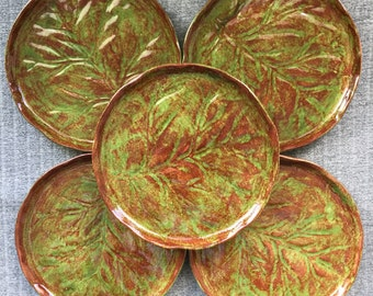 Set of 6 Small Retro Mid Century Green Ceramic Leaf Plates 15cm diameter