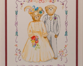 Gouache Painting - Teddy Bear Wedding - Picture Ref: 15