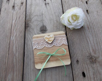 Ring carrier tray with engraved heart -ring pillow / wedding / ring box / ring box / wood