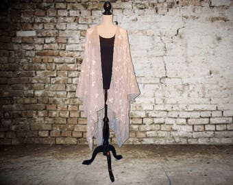 Kimono Style Jacket Cape Cover Up - Ivory Beige with White Embroidered Ivy design
