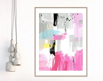 Pink Abstract Art, Pink and Grey Painting, Modern Contemporary Art, Pink Decor, Extra Large Wall Art, Fine Art Print