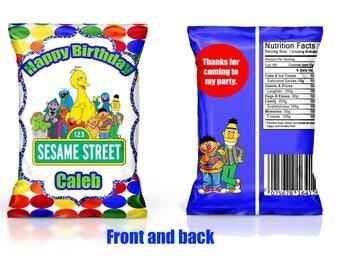 Sesame Street Chip Bag Favor--YOU PRINT