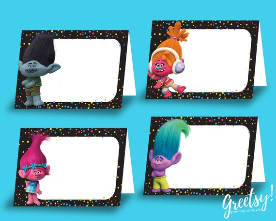 Trolls Food Tent Cards