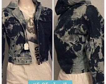Hooded Hand made distressed bleached Jean jacket
