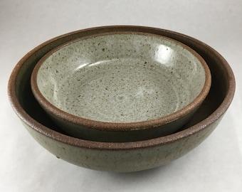 Green and White Nesting Bowl Set
