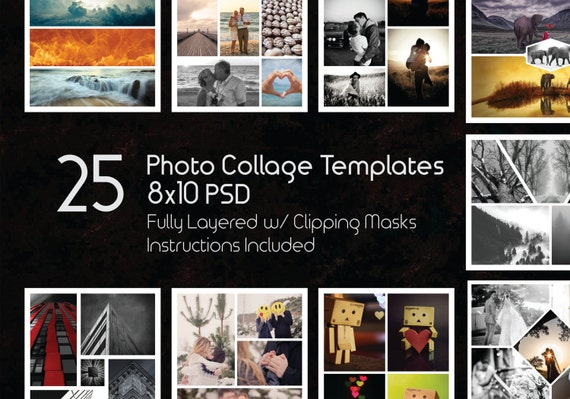 8X10 Photo Collage Templates Pack, 25 Psd Templates, Photoshop