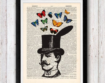 Magician Top Hat and Butterflies over an upcycled dictionary page book art print