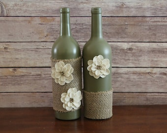 Wine Bottle Decor- Burlap & Flowers, Centerpiece, Decorative bottle, Vase