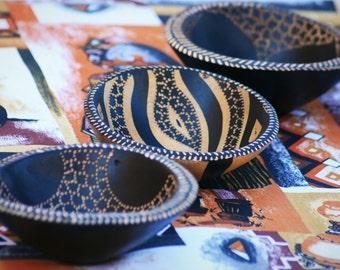Handmade African Wooden Bowl, Zebra Pattern Wooden Bowl, Zebra Bowl, African Wooden Dish, Hand Crafted Bowl, African Decor