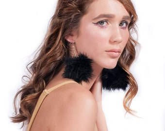 FEATHER POM POM Earrings - Black fluffy with hook or clip on