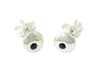 Moon Large or Small Studs with Dark Blue Sapphire