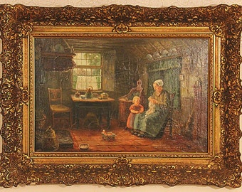 Dutch farmhouse kitchen scene depicting mother and daughter