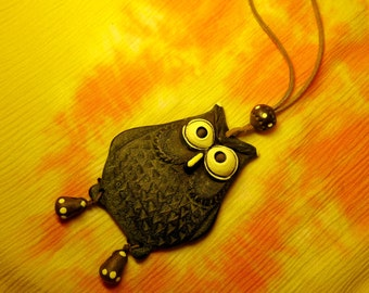 Owl Decoration Molding Ceramic Pendant Organic Charm Boho