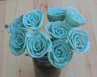 Blue Mint Sola Flowers, Sola Flowers, Rustic Wedding, Cake Table Decor, Country Wedding, Rustic Home Decor, Wedding Flowers, DIY flowers