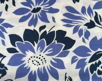 Quilting Cotton   Fresh Print --Navy, blue, white floral.  1 yard available