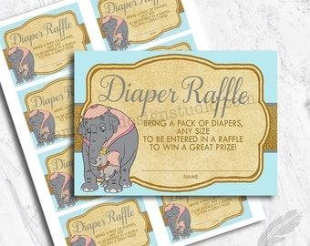 Dumbo Baby Shower Diaper Raffle Tickets, classic, elephant, blue, baby shower, digital, printable