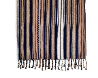 Cloth blanket bedspread sleeve Plaid throw Brown Café coffee blue dark blue boho ethnic residential tablecloths handmade gift
