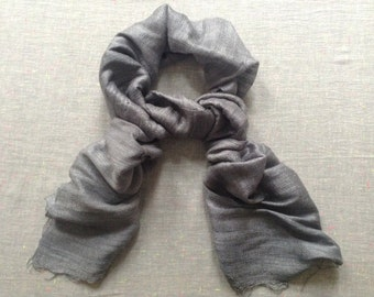 100% Raw Silk Fair Trade Scarf GREY Vegetarian handwoven
