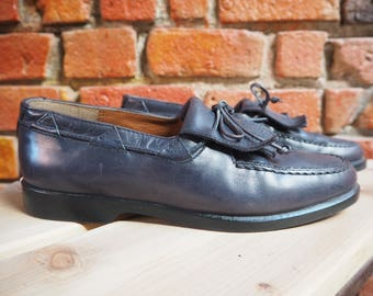 Women's 80s Versace Navy Blue Leather Slip On Loafers With Tassel And Lace Bow Size US 10