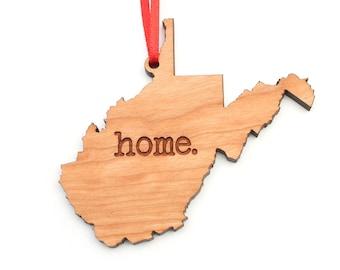 West Virginia home. Christmas Ornament - WV West Virginia Ornament - Home Christmas Ornament