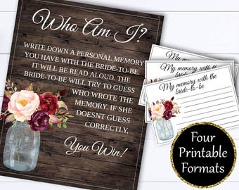 Who Am I Bridal Shower Games - Instant Download Who Am I Game - Bridal Shower Printable Memory Game - Bridal Shower Memory - Bridal Games