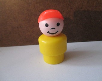 Vintage Fisher Price Little People - Smiling Boy with Orange Hat