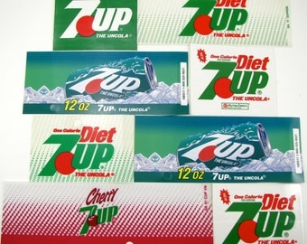8 Vintage 7Up Decals, 7Up Stickers, Vintage Vending Machine Decals, Vintage Decals, Vintage Soda, 7Up, Cherry7Up, 1980s
