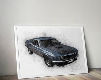 Ford Mustang Print Ford Mustang Poster Drawing Home Decor Wall Art