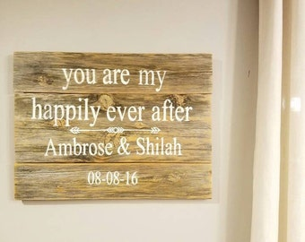 Happily Ever After Barnwood Sign
