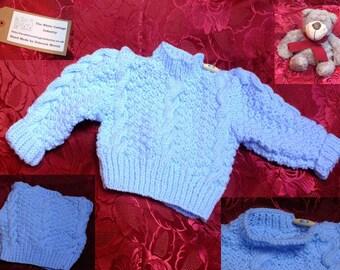 Baby Blue Baby's First Aran Jumper