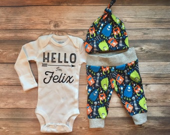 Hello I'm Monster Baby Boy Outfit, Baby Name Outfit, Custom bodysuit, Custom Name Outfit, Baby Name Outfit, Baby Monster, Monster Outfit