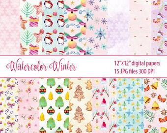 watercolor winter paper pack, christmas paper, digital paper