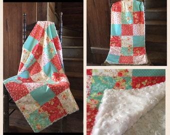 Floral Infant Blanket, Modern Geometric Baby Quilt, Crib Nursery Bedding, Coral and Aqua Flower Parchwork, Soft, fuzzy