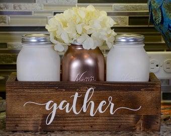 Personalized Mason Jar Centerpiece - Kitchen Decor  - Mason Jar Decor - Rustic Decor - Farmhouse Decor - Mason Jar Holder - Planterbox Decor